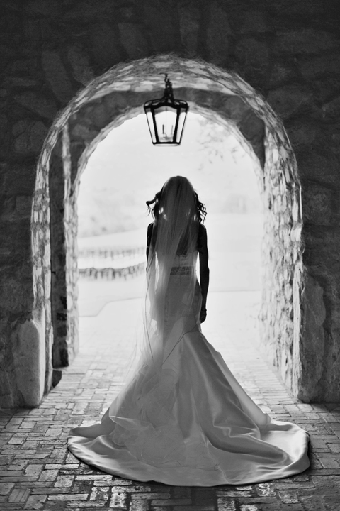 Stunning black and white silhouette of the bride standing in an archway. Silverleaf