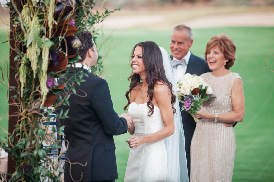 Joyous bride and groom. Outdoor wedding ceremony
