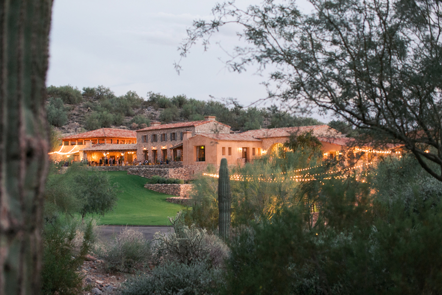 Silverleaf Club at dusk. Arizona wedding.