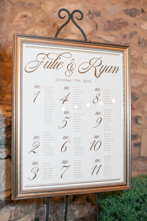 Framed seating chart for the wedding reception.