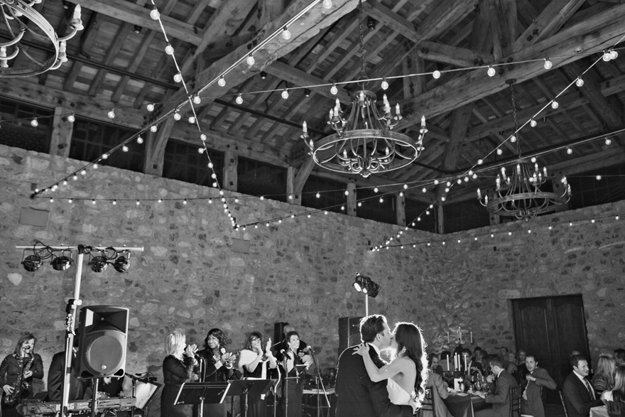 Bride and groom's first dance. Black & white photo. Silverleaf wedding