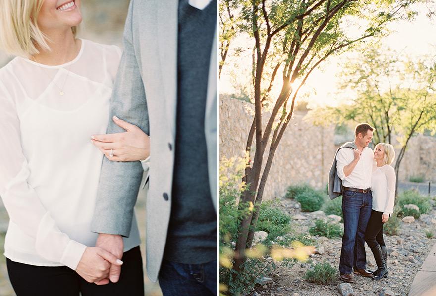 Classy couple share special glance near sunlit tree setting photo shoot