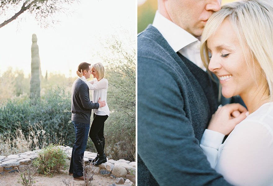Sweet moment for a soon to be bride and groom photo shoot in outdoor nature setting