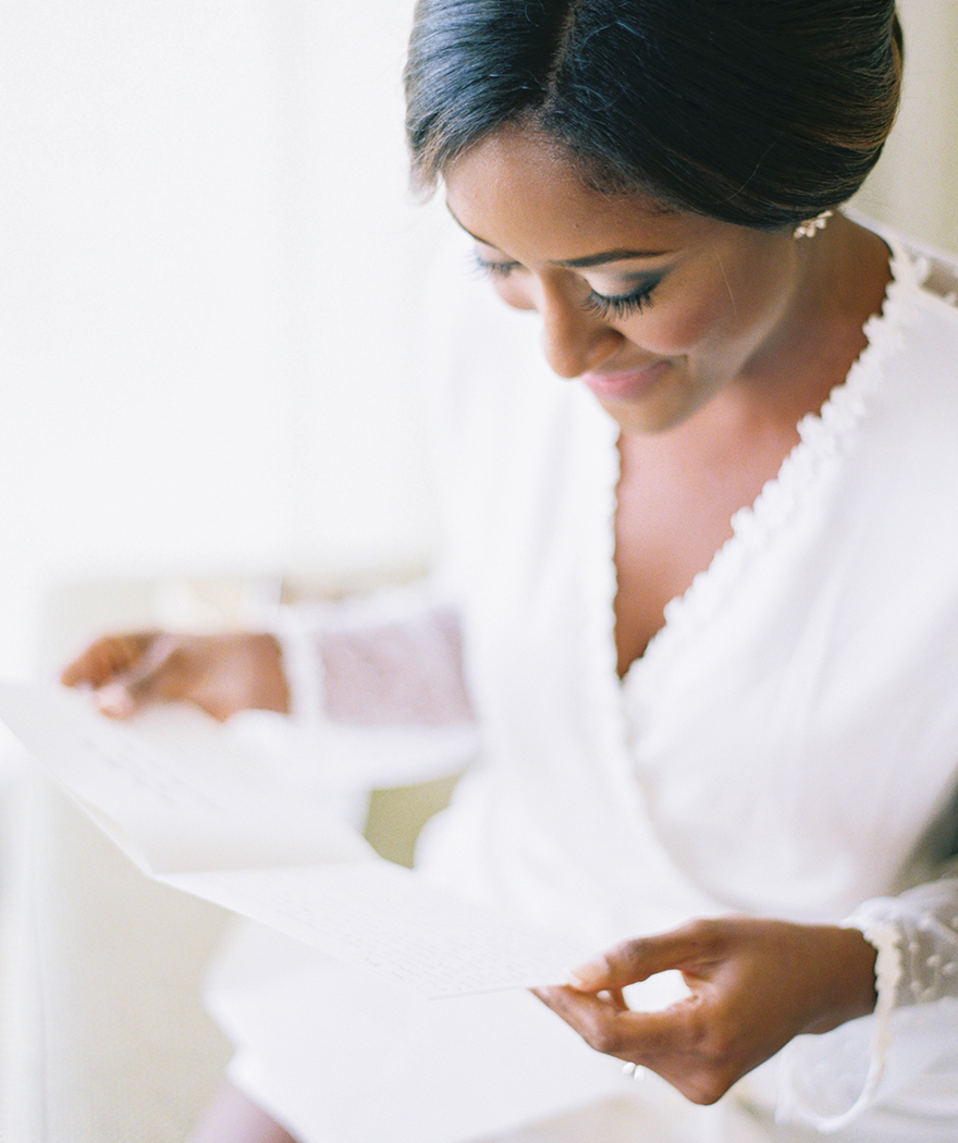 reading a letter on er wedding day