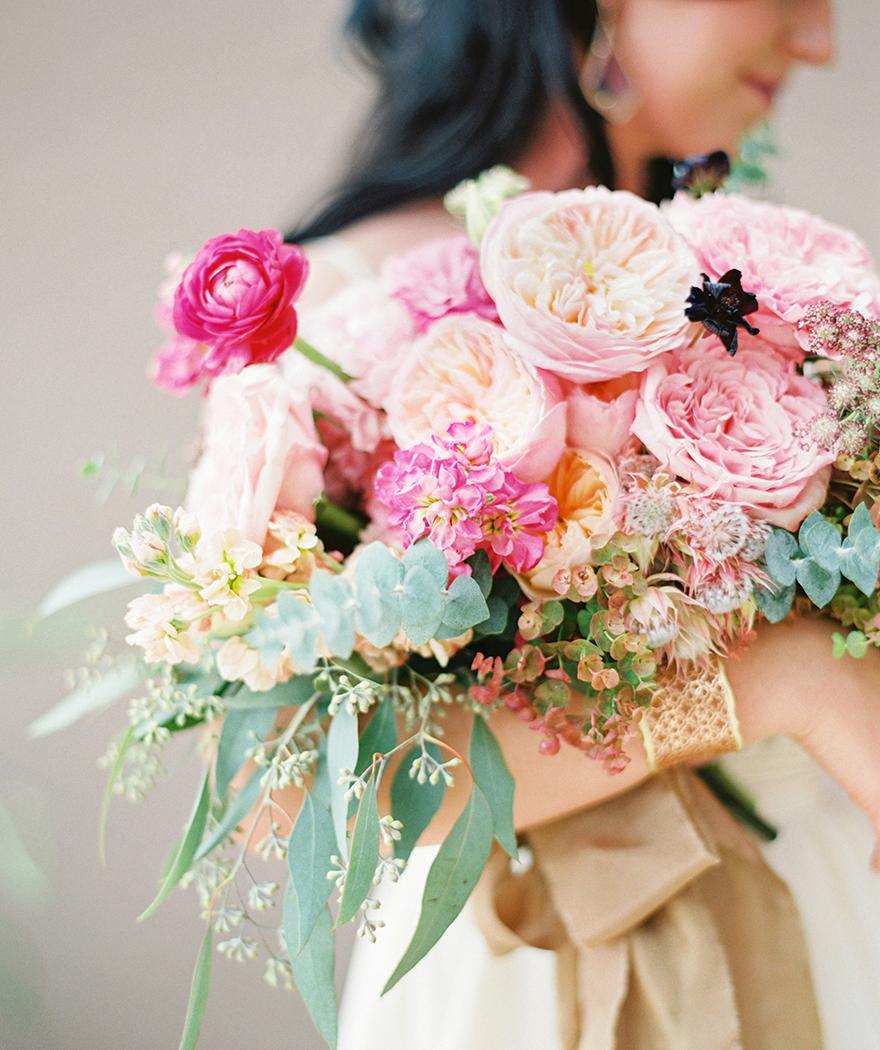 vivid pink bouquet of peonies & roses
