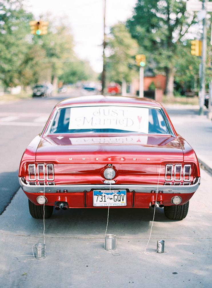 classic wedding getaway car