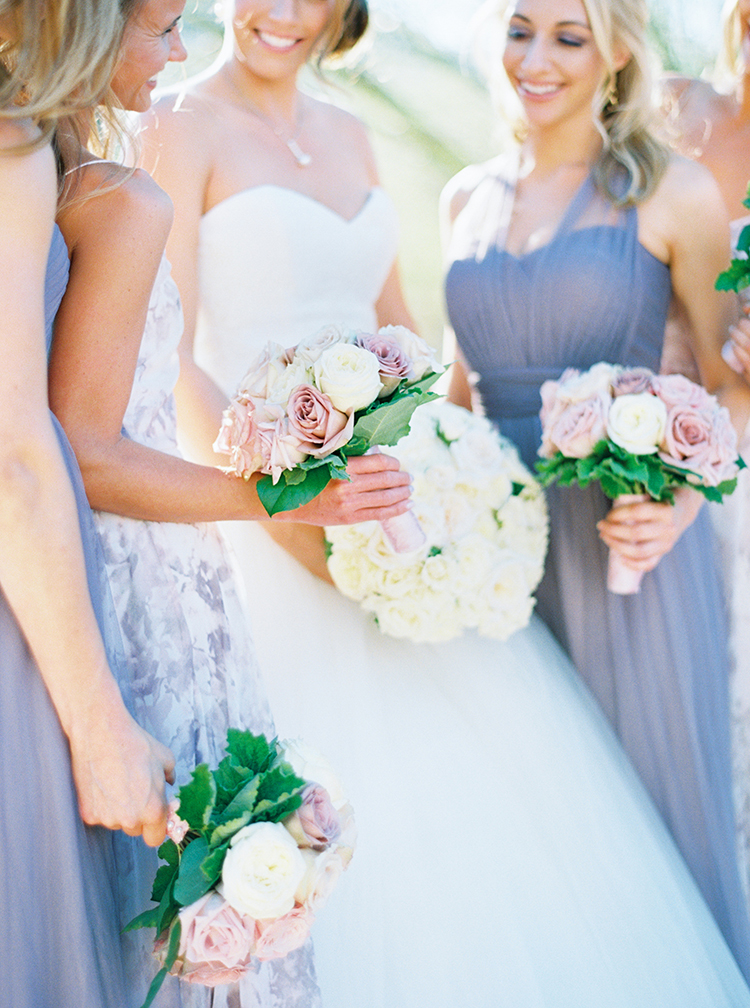 Bridesmaids in lavender and cream