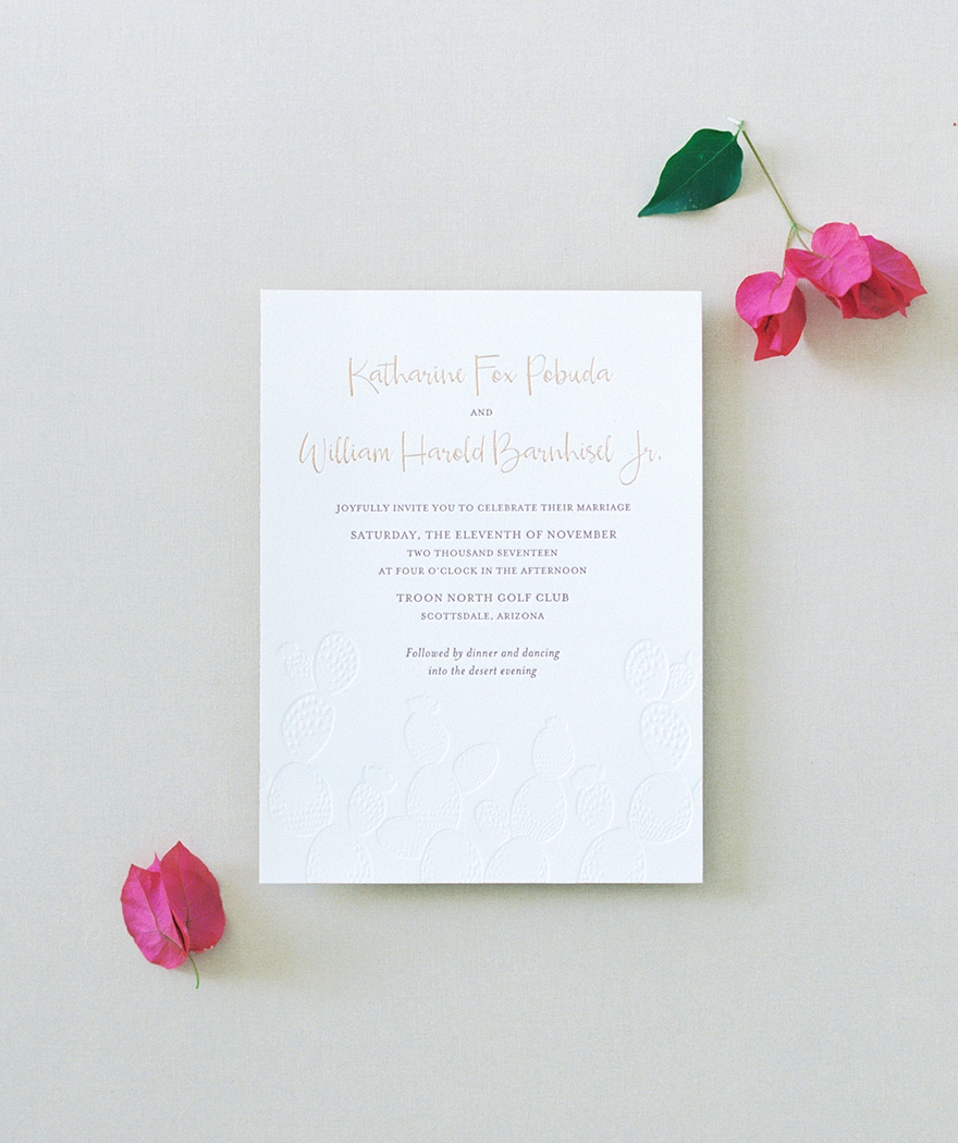 modern invitations with metallic foil & blind letterpress