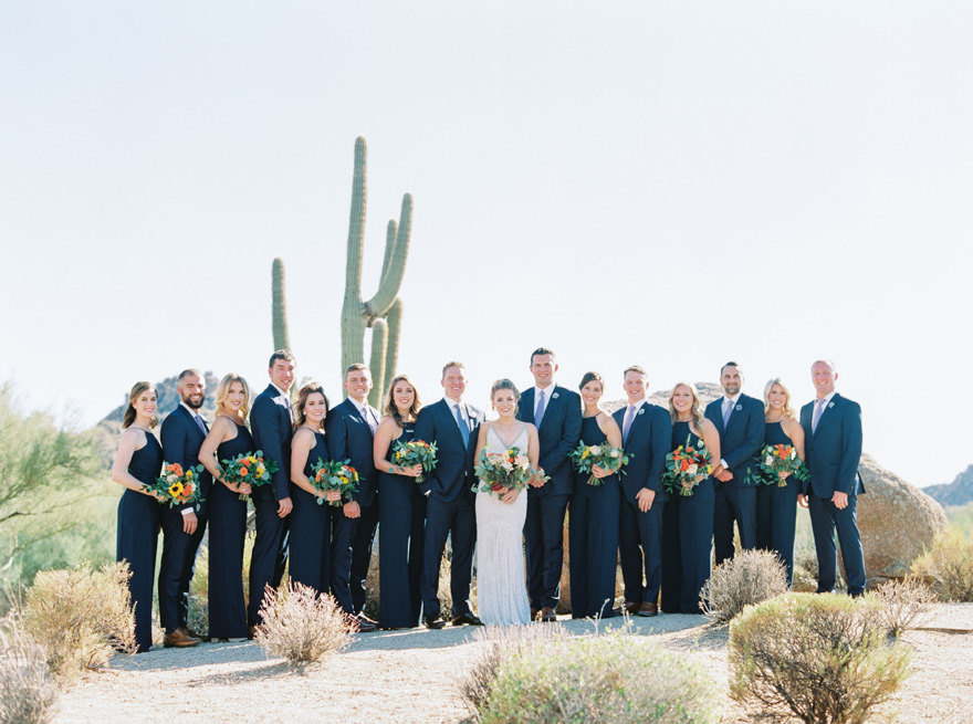 bridal party in deep blue