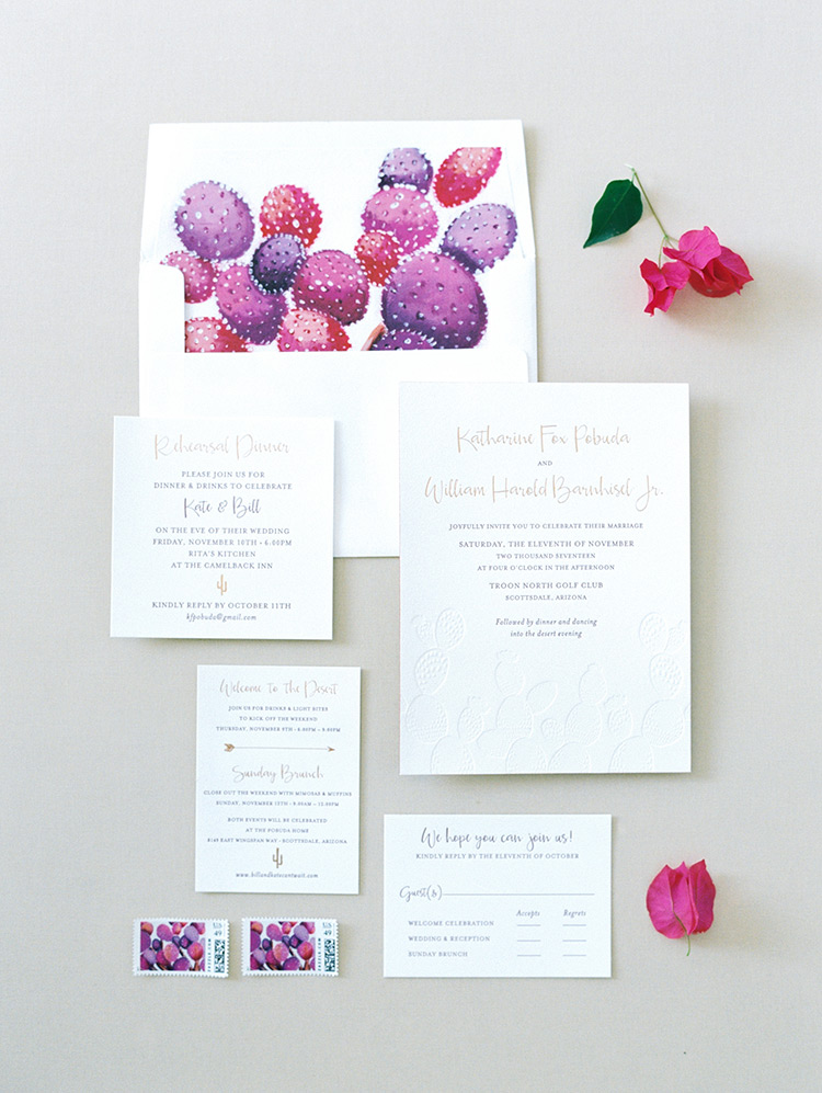 modern invitations with blind letterpress& vibrant envelope liners