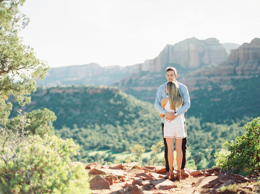 Outdoor embrace at Rachel's Knoll in Sedona