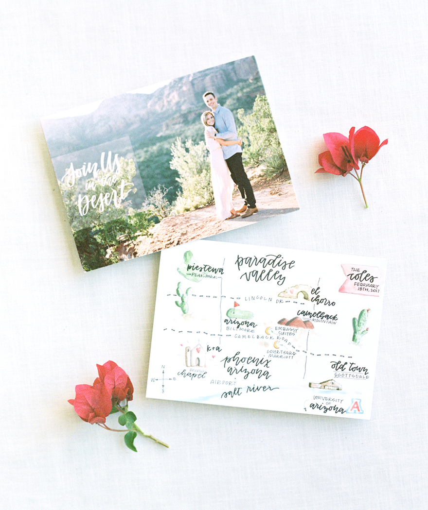 Save the date card with custom watercolor map