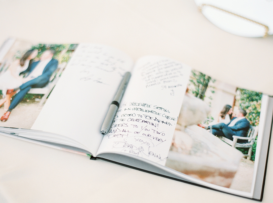 a photo guest book at a wedding