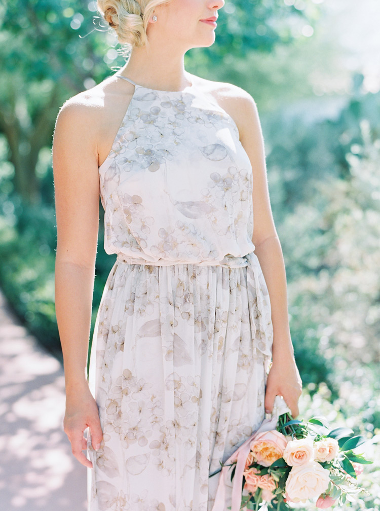 Printed and draped bridesmaid dress