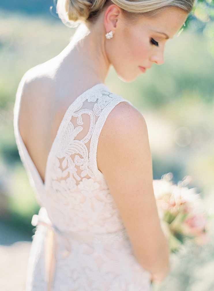 bride with natural beauty & lace BHLDN dress