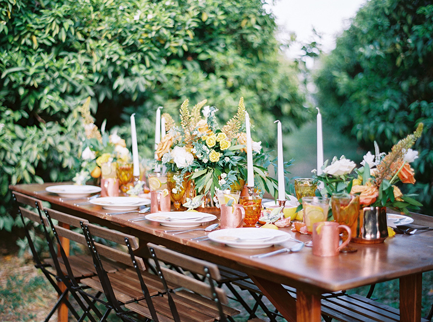 outdoor reception with copper & amber accents
