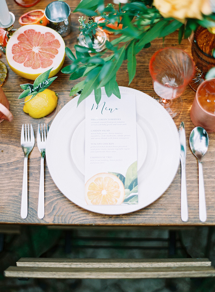 citrus-themed outdoor reception with copper & amber accents