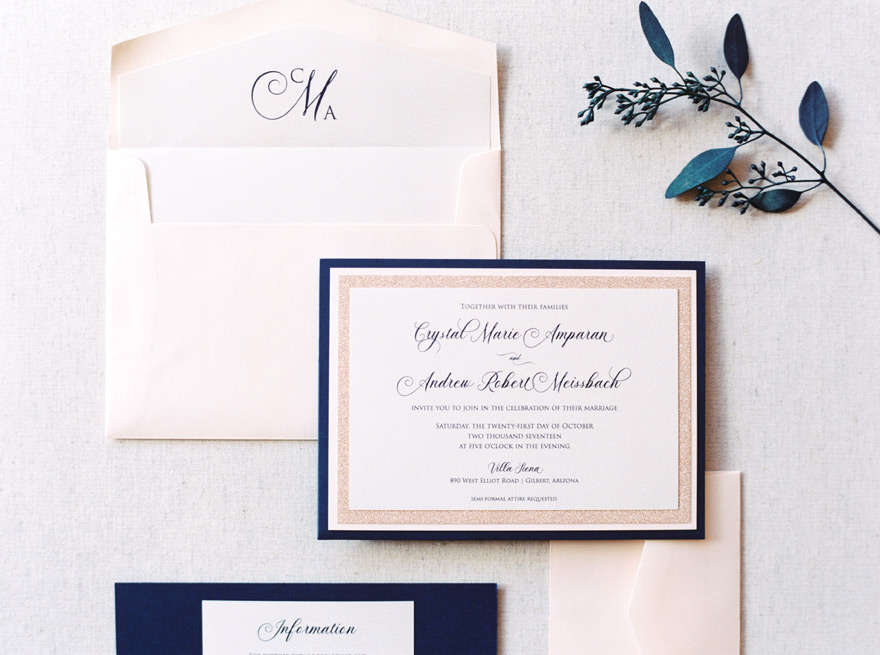 blush and navy invitation suite