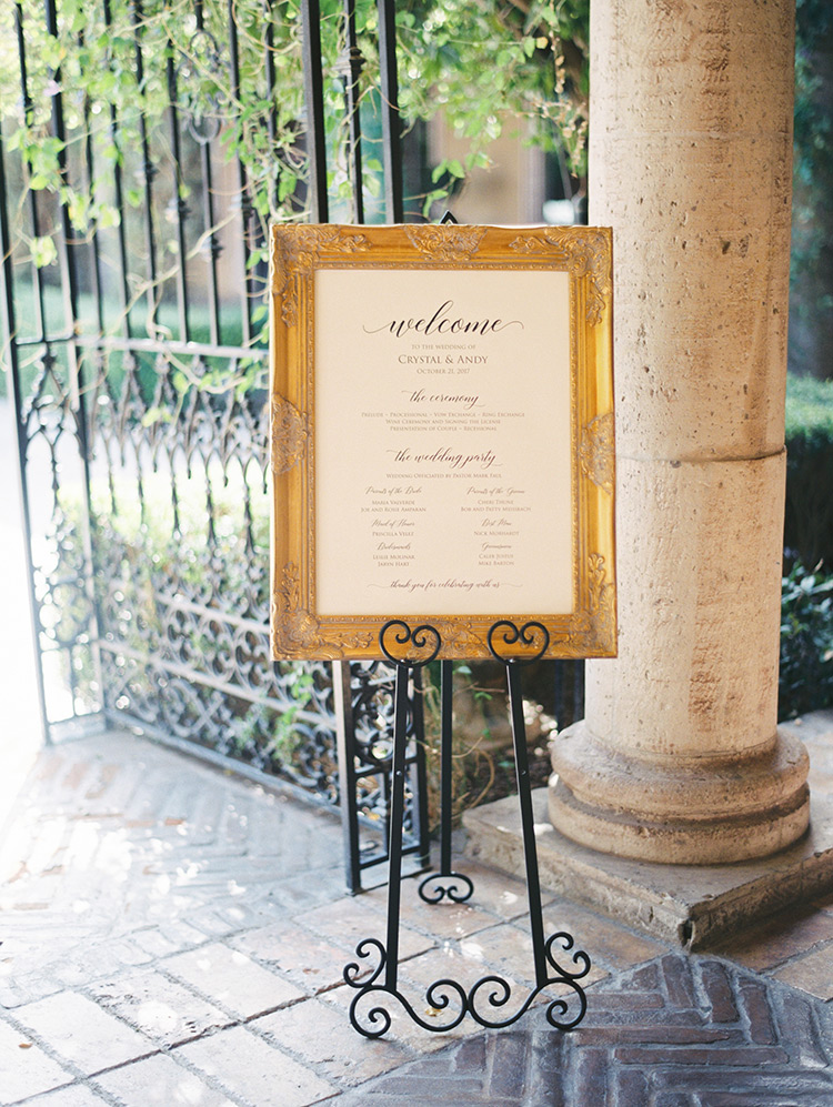 wedding sign in a gilt frame