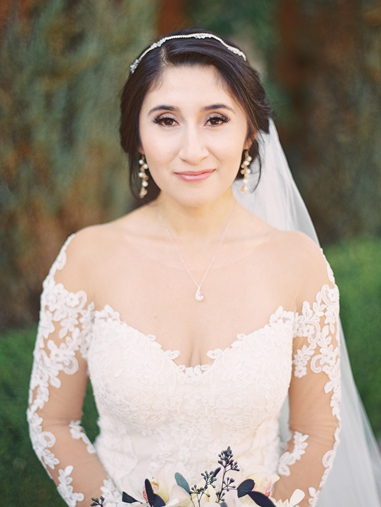 bridal beauty in a lace gown