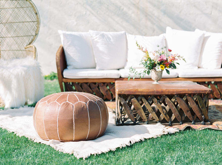 Boho chic lounge furniture at an outdoor wedding, DANG! Fine Rentals
