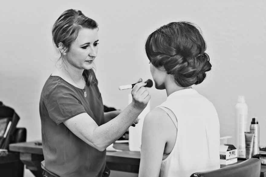 Makeup artist Arielle Rondeau works on her beautiful bride.