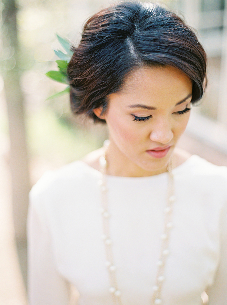 Bride with soft, natural makeup and rosy lips.