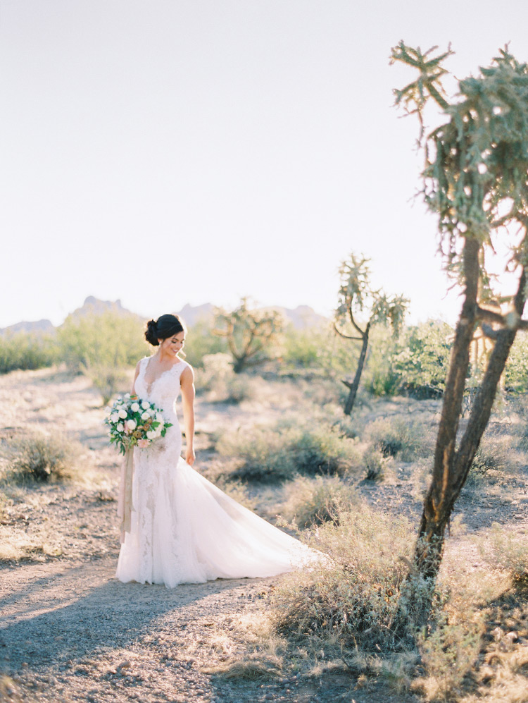 bride in a lace gown in Lost Dutchman State Park