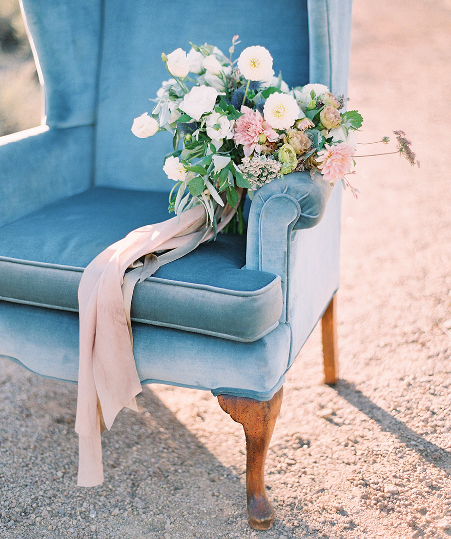 soft & wild bouquet on a vintage blue chair