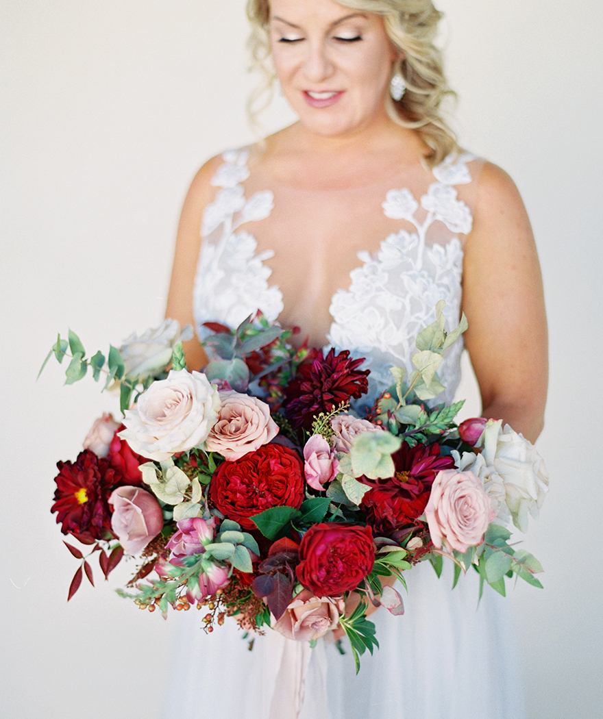 burgundy & blush bouquet with greenery