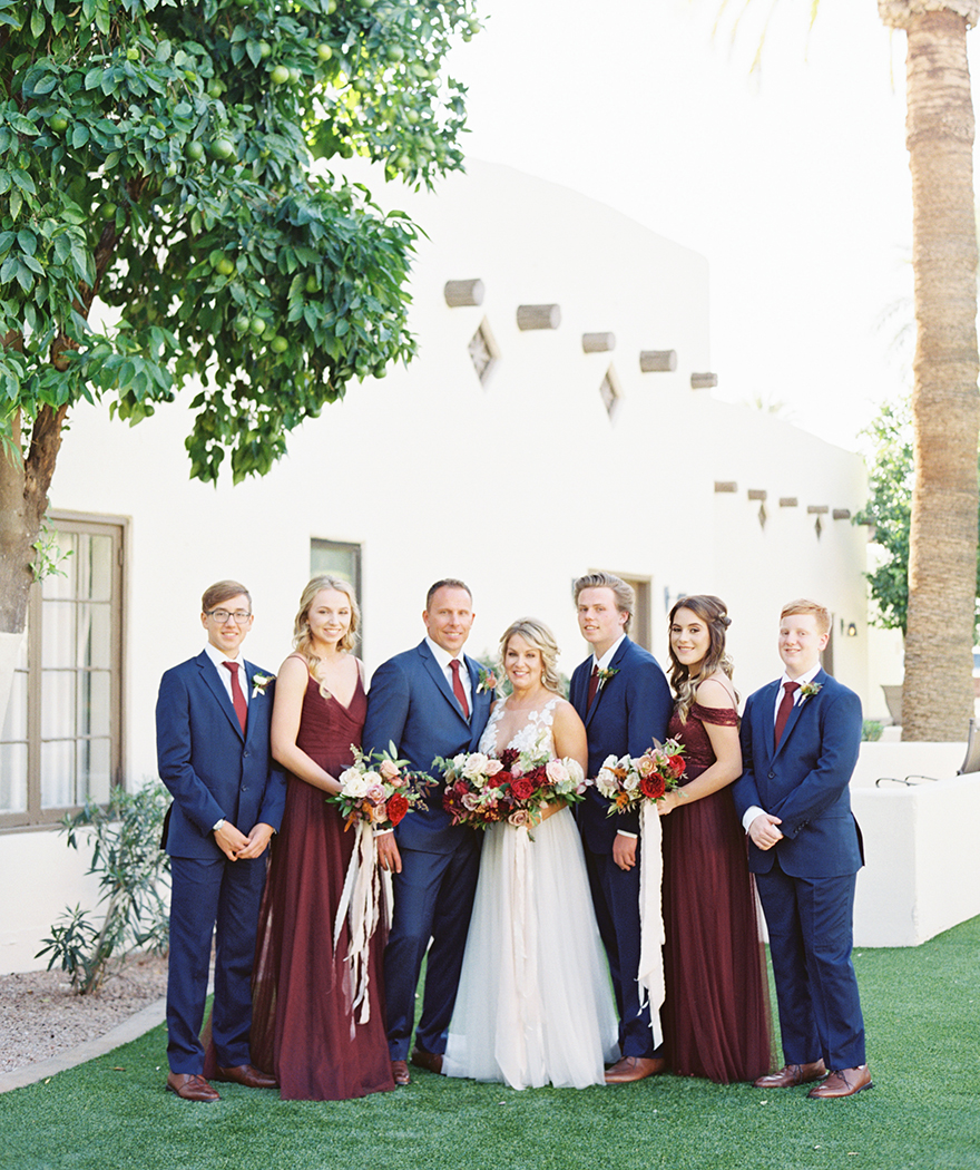 wedding party in burgundy,and navy