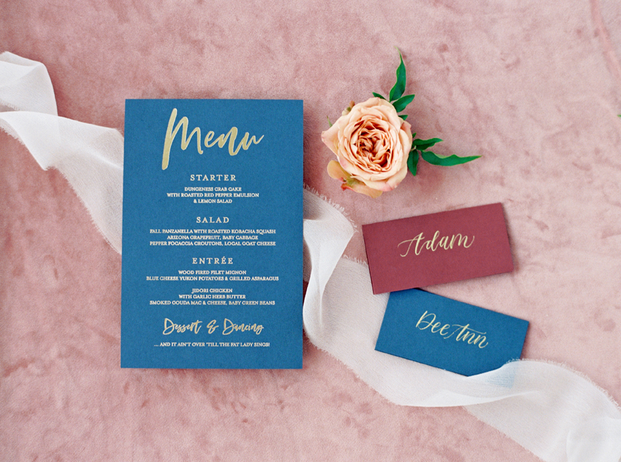burgundy & navy menu and place cards