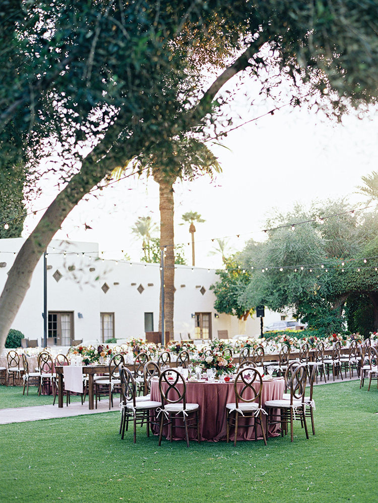 outdoor wedding reception with burgundy & navy decor