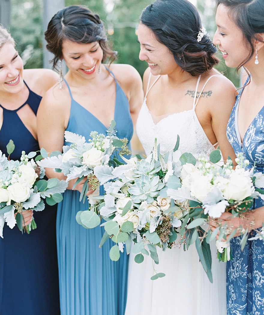 mismatched bridesmaids in blue