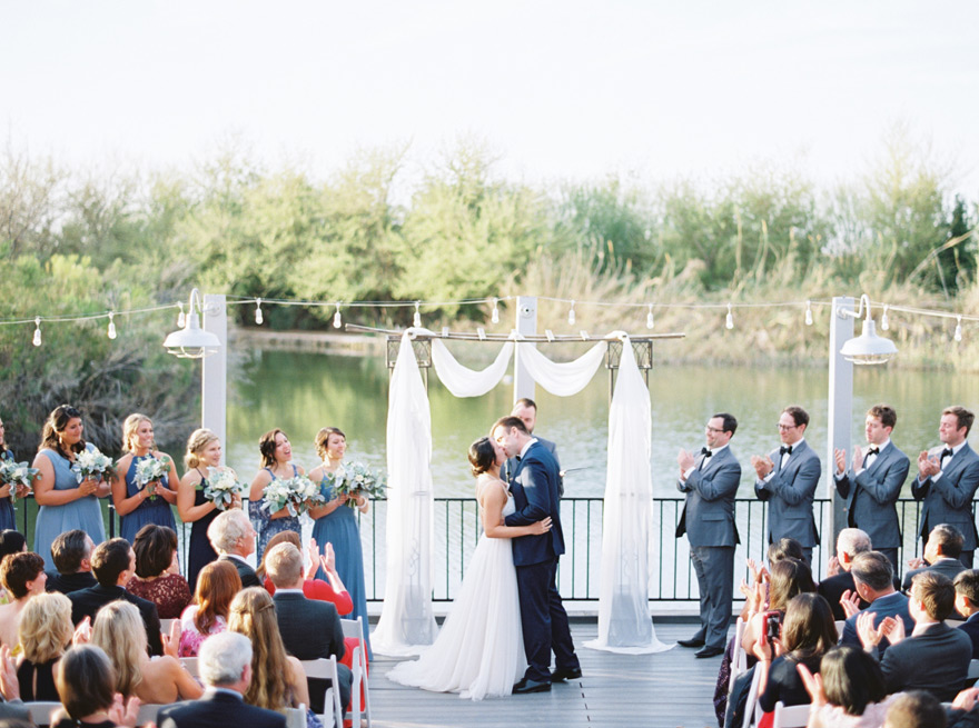 outdoor wedding ceremony on the lake