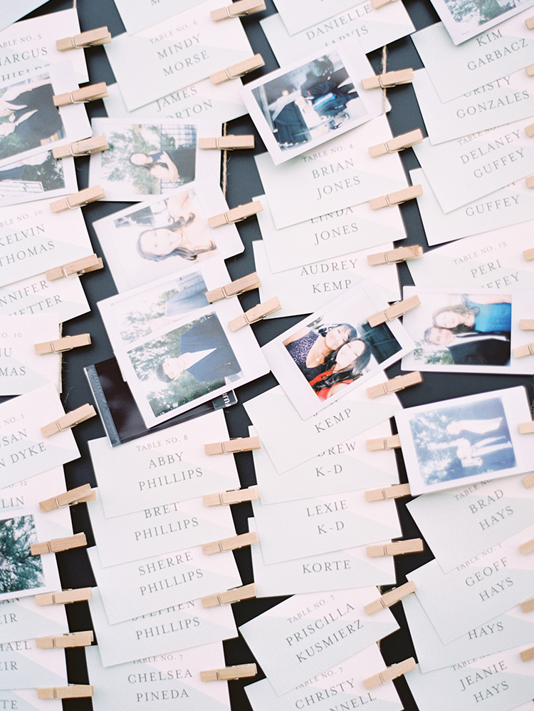 escort cards with Polaroid photos