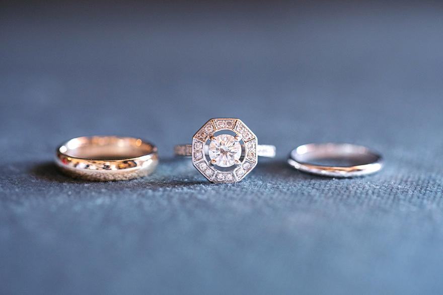 Unique art deco style engagement ring