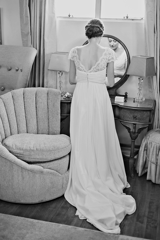 bride's finishing touches at Wrigley Mansion