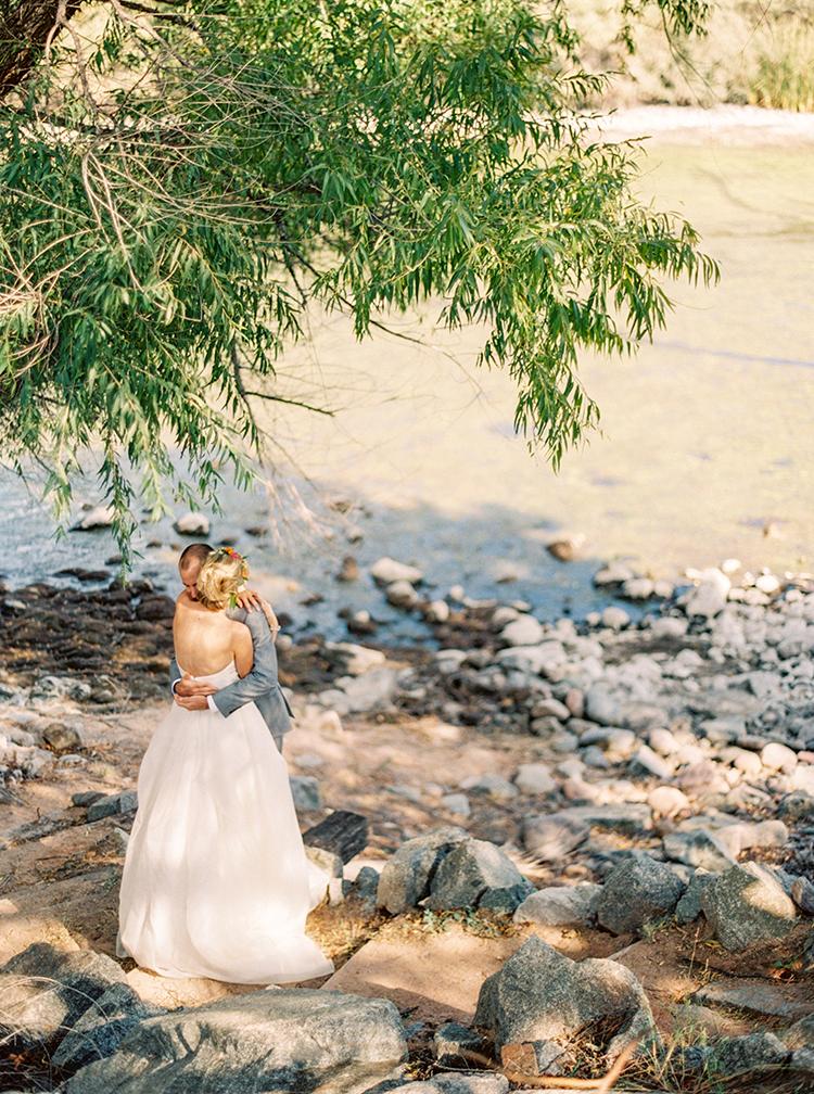 bride & groom first look at Saguaro Lake Ranch