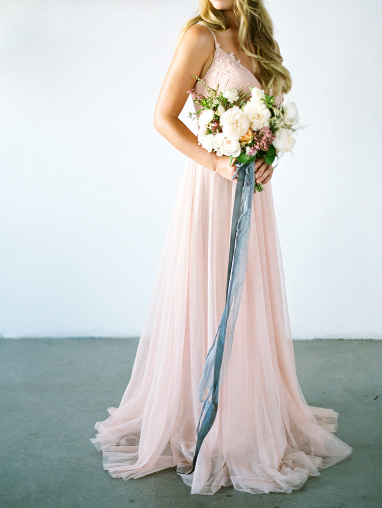 tulle bridesmaid dress by Jenny Yoo, bouquet with silk ribbons