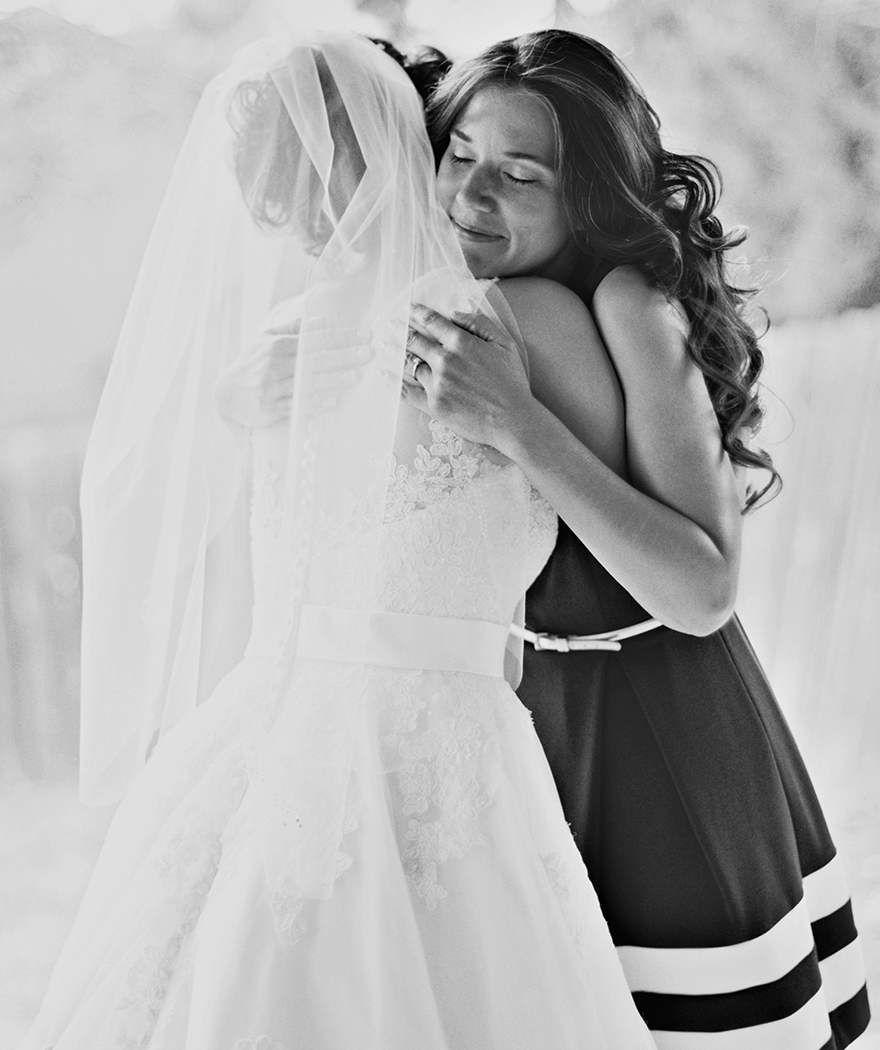 special moment between mother of the bride and bride