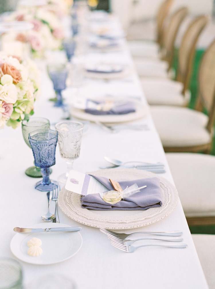 outdoor wedding reception in pale colors and rich textures