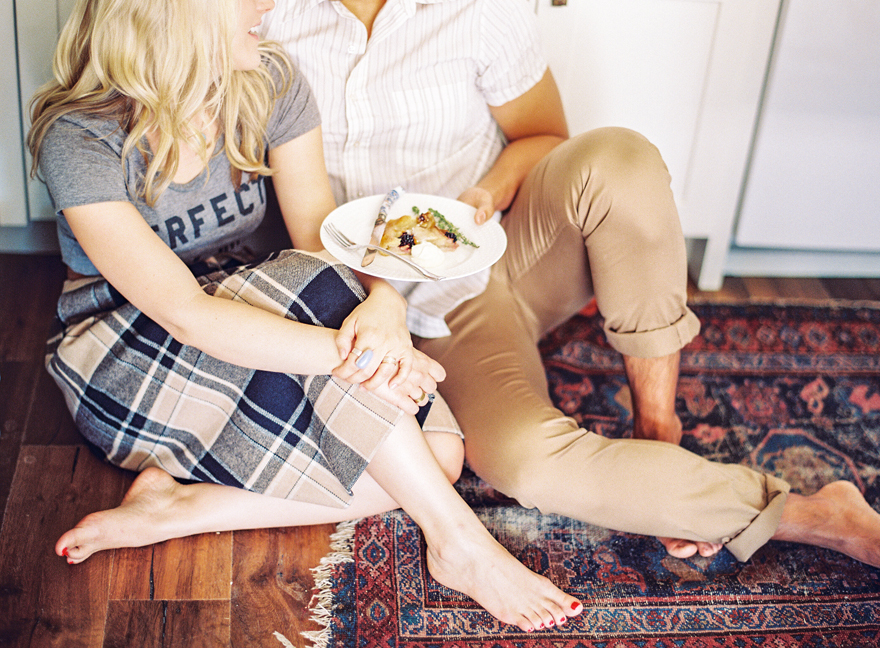 Navy and beige plaid skirt paired with grey t-shirt, perfect to wear for engagement session.