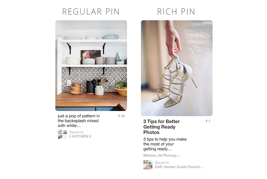 regular pins vs. rich pins