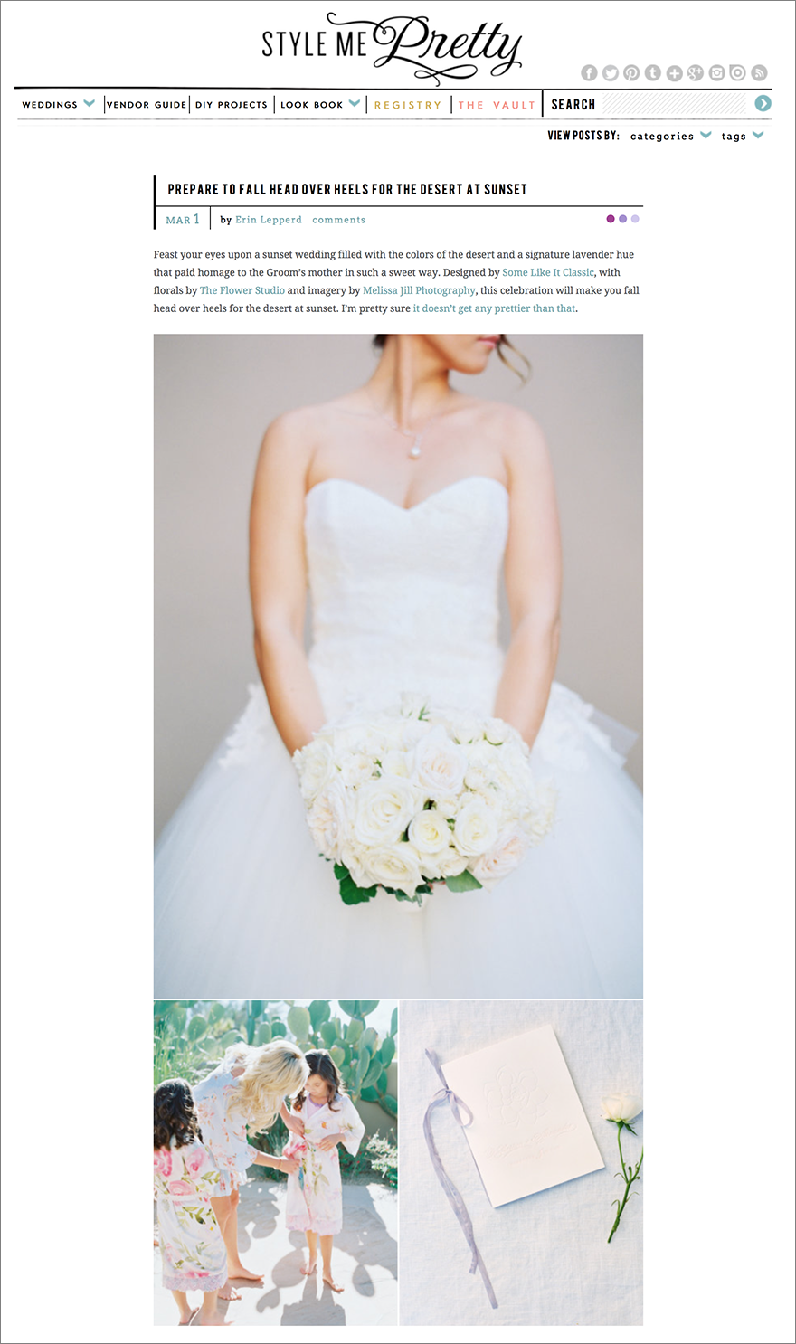 Melissa Jill Wedding featured on Style Me Pretty