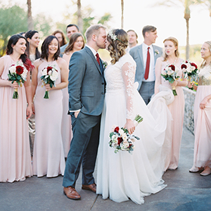 Blush & Burgundy Phoenix LDS Temple Wedding